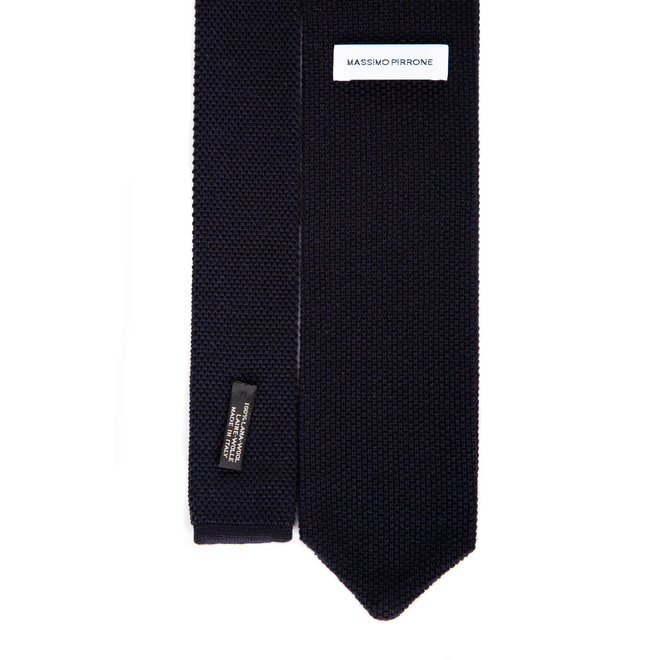 3 FOLD  NAVY TIE  WOOL KNITTED - HANDMADE IN ITALY