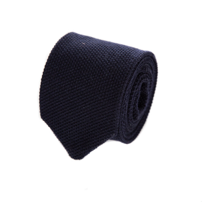 3 FOLD  NAVY KNITTED WOOL TIE