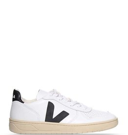VEJA V-10 LEATHER WHITE/BLACK