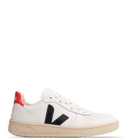 VEJA V-10 LEATHER  WHITE/BLACK/RED
