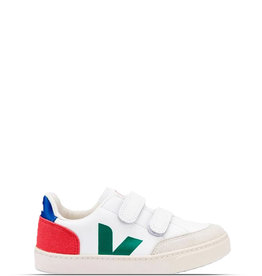 VEJA V-10 VELCRO LEATHER - EXTRA WHITE /  EMERAUDE PEKIN