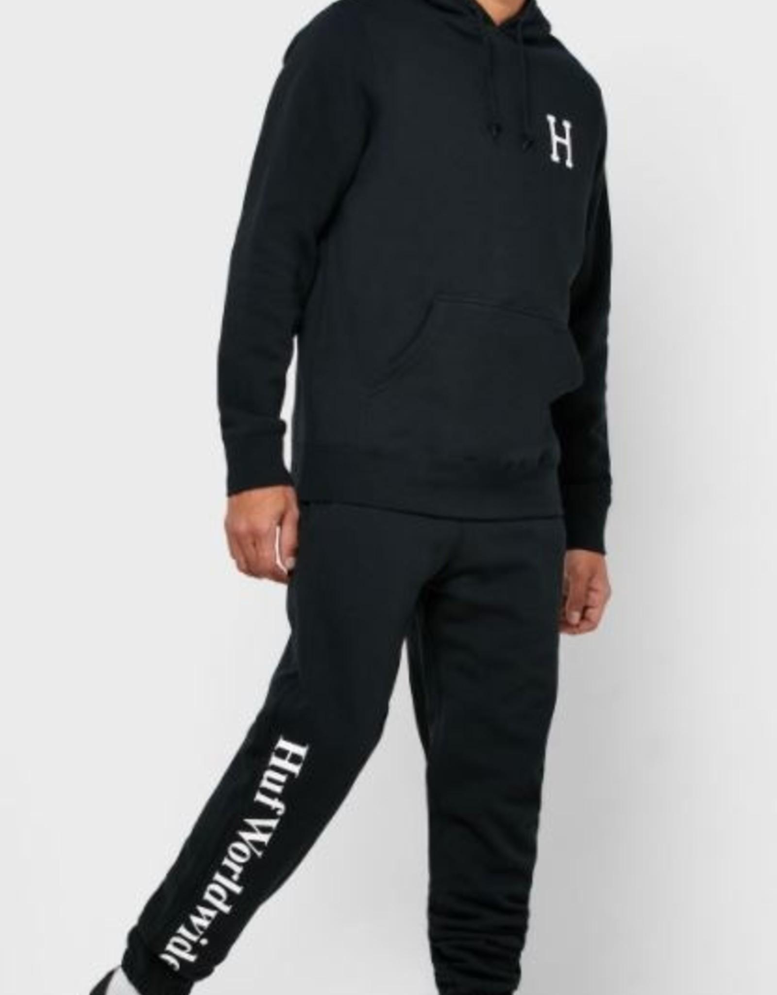 HUF ESSENTIALS FLEECE PANTS - BLACK