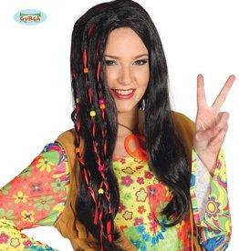 FIESTAS GUIRCA hippie zwarte pruik