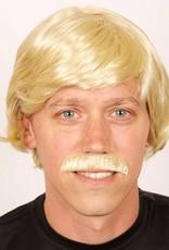 FARAM pruik heer en snor blond