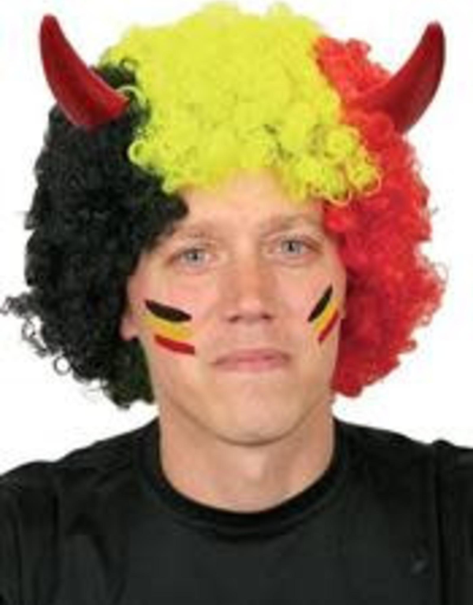 FARAM pruik belgische kleuren met horentjes