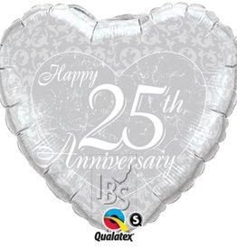 IBS folie 25 huwelijksverjaardag hart met helium