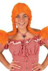 FARAM pruik oranje met stevige vlechten