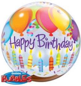 Sempertex avalloons bubbles balloon happy birdhay kaarsjes