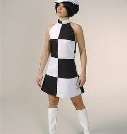 MAGIC disco jurk zwart wit blok huurprijs 15