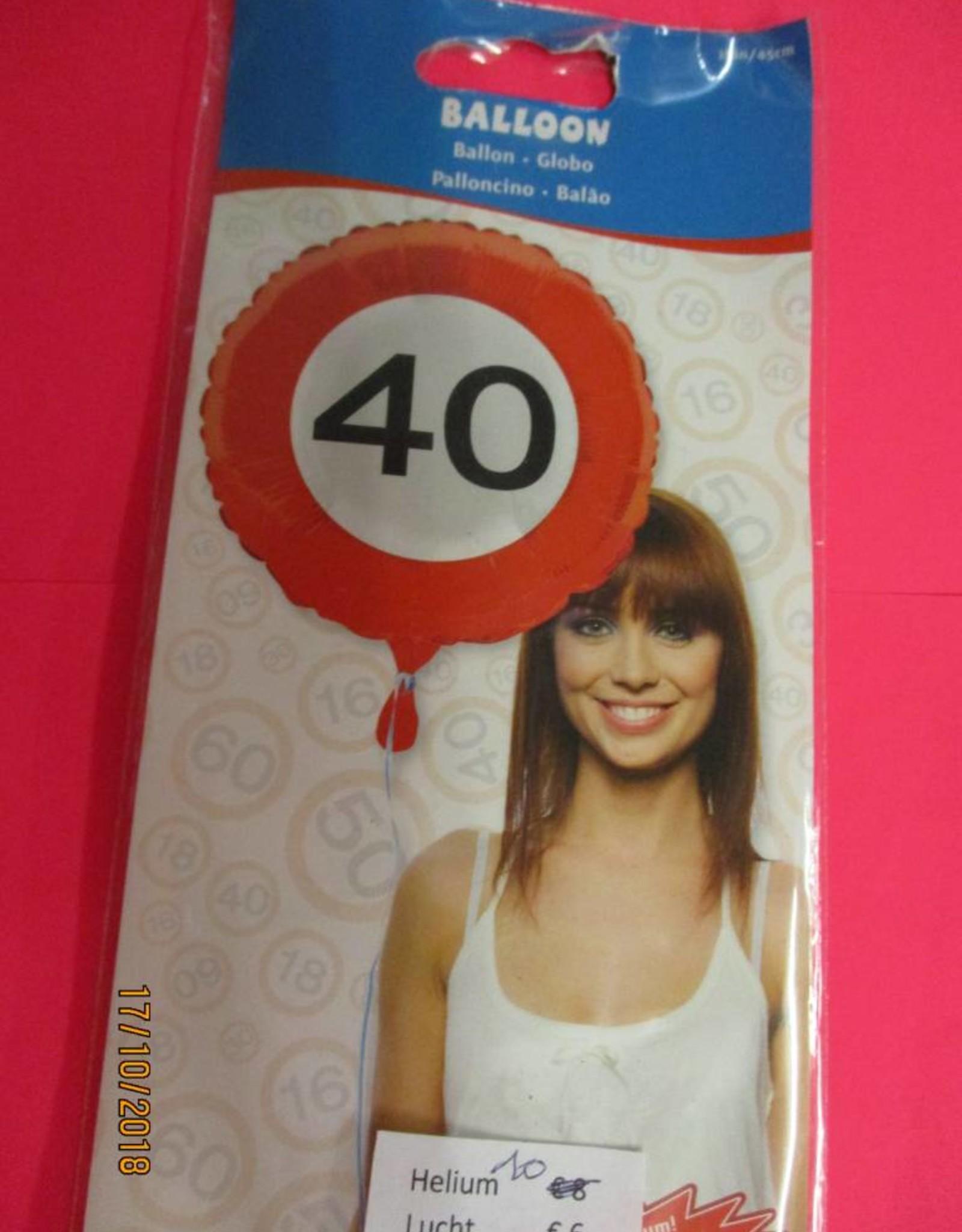 Folat folie verkeersbord 40 met helium