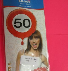 Folat folie verkeersbord 50 met helium
