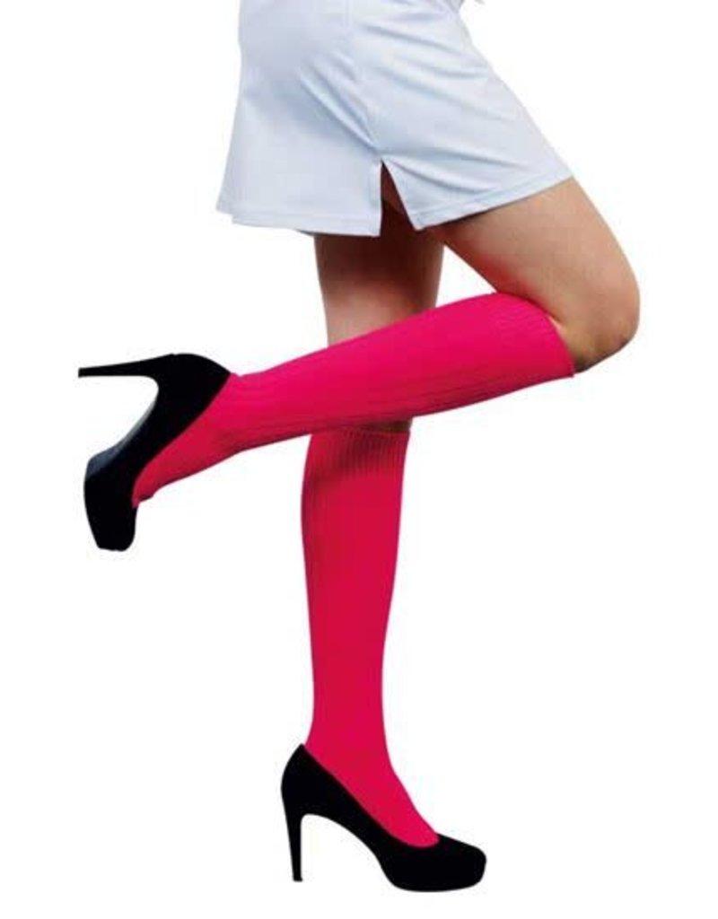 WITBAARD voetbalkousen fluor roze 47