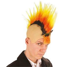 FARAM pruik punk hanekam zwart oranje geel