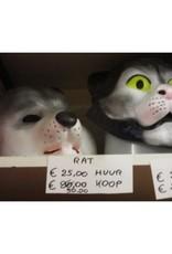 grijs kostuum voor rat of kat met masker huurprijs 20