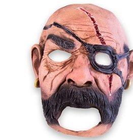 WITBAARD masker piraat met snede en grote mond