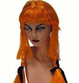 FARAM pruik staartjes oranje