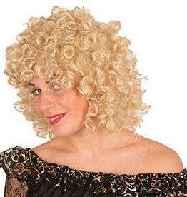 FARAM blonde pruik half lange krullen