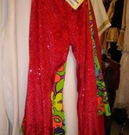 broek disco glitter rood 48-50 Lang