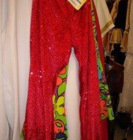 broek disco glitter rood 48-50 Kort