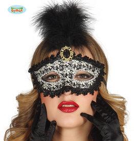 FIESTAS GUIRCA oogmasker zwart steen met pluim