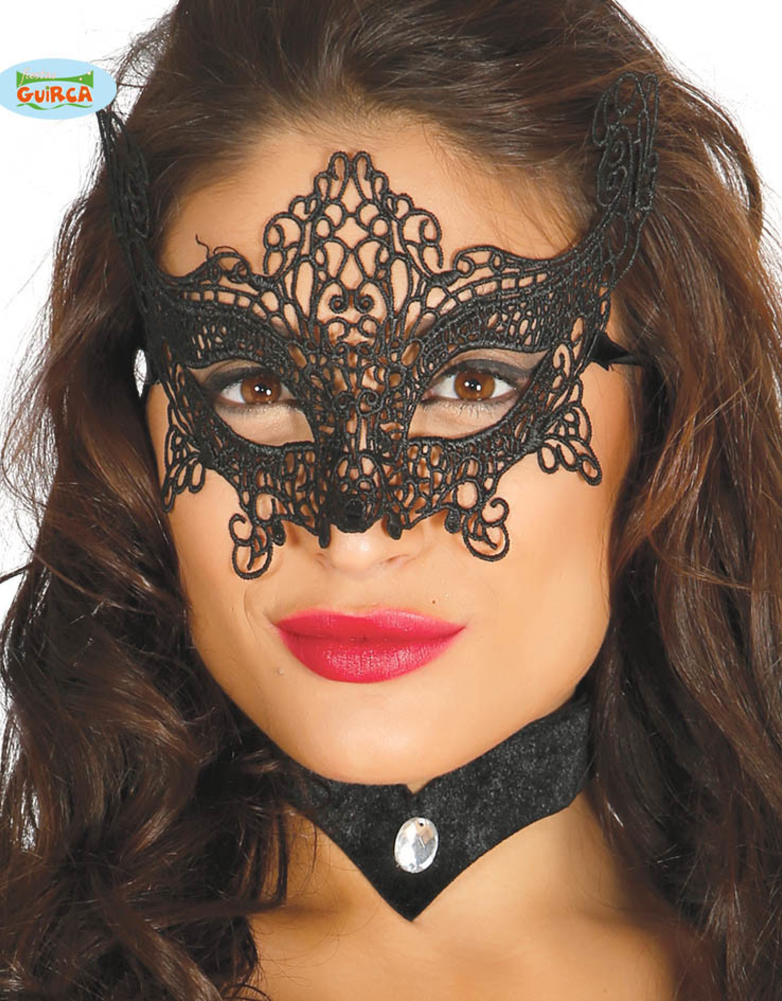 FIESTAS GUIRCA oogmasker zwart geborduurd 2