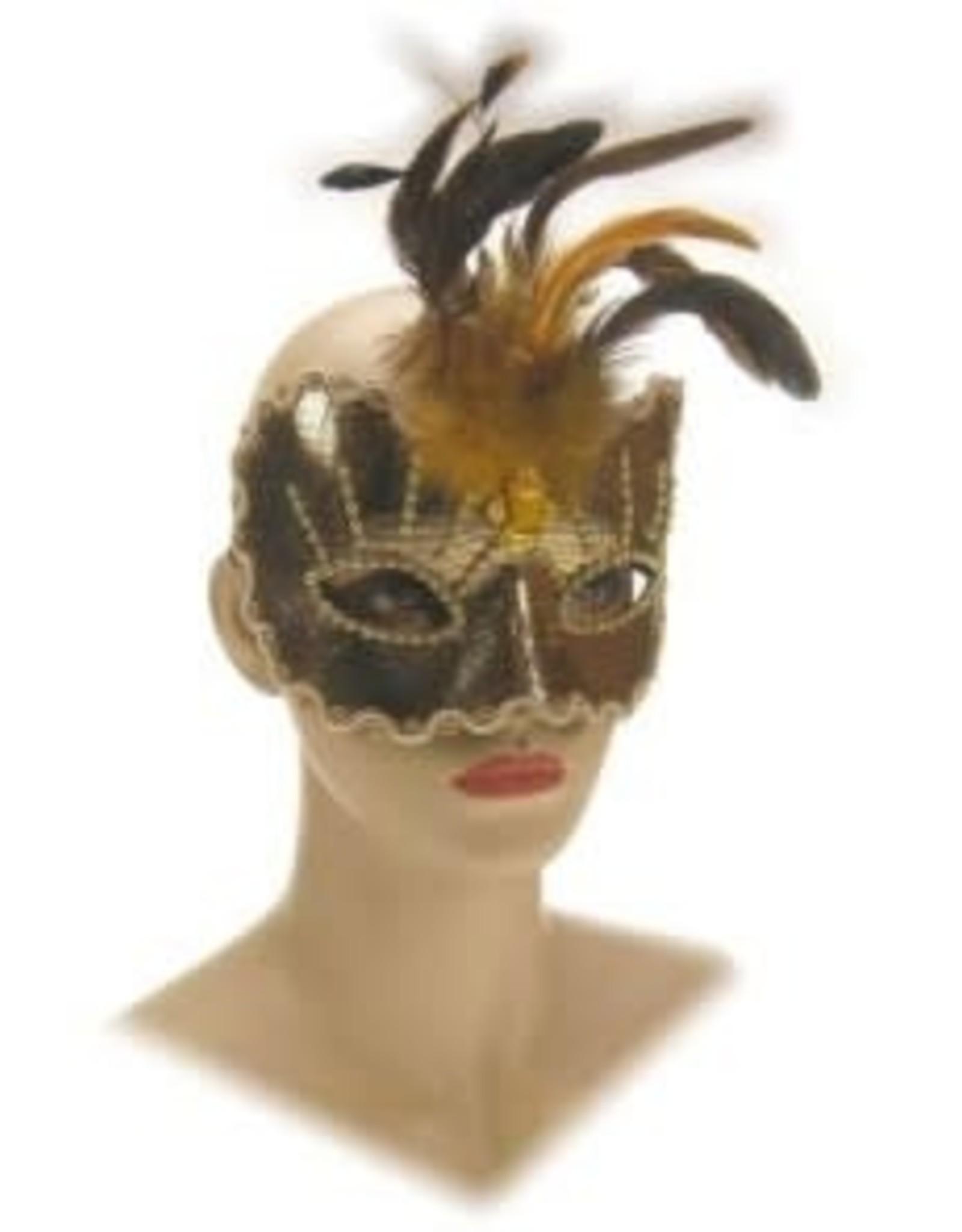 Partyxplosion oogmasker goud met pluim