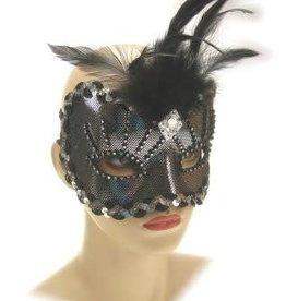Partyxplosion oogmasker zilver met pluim