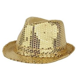 FARAM kojak hoed pailletten goud,
