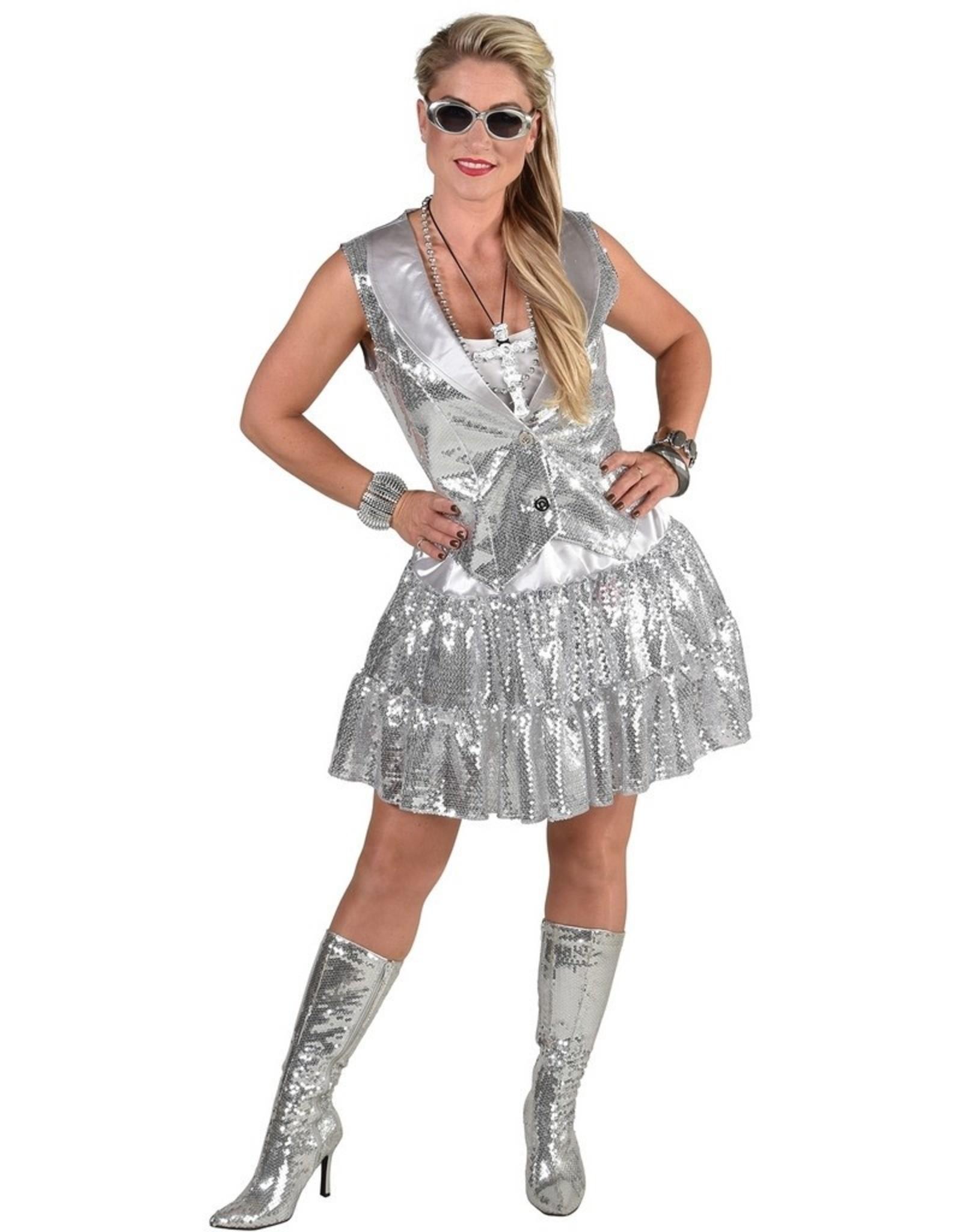 MAGIC Glittervest dames zilver huurprijs 10