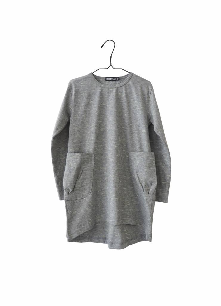 Longsleeve Kleid mit Taschen grau-grün Mèlange