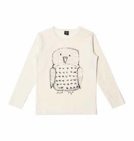 "AARREKID / T-shirt ""Owl"" à manches longues crème"