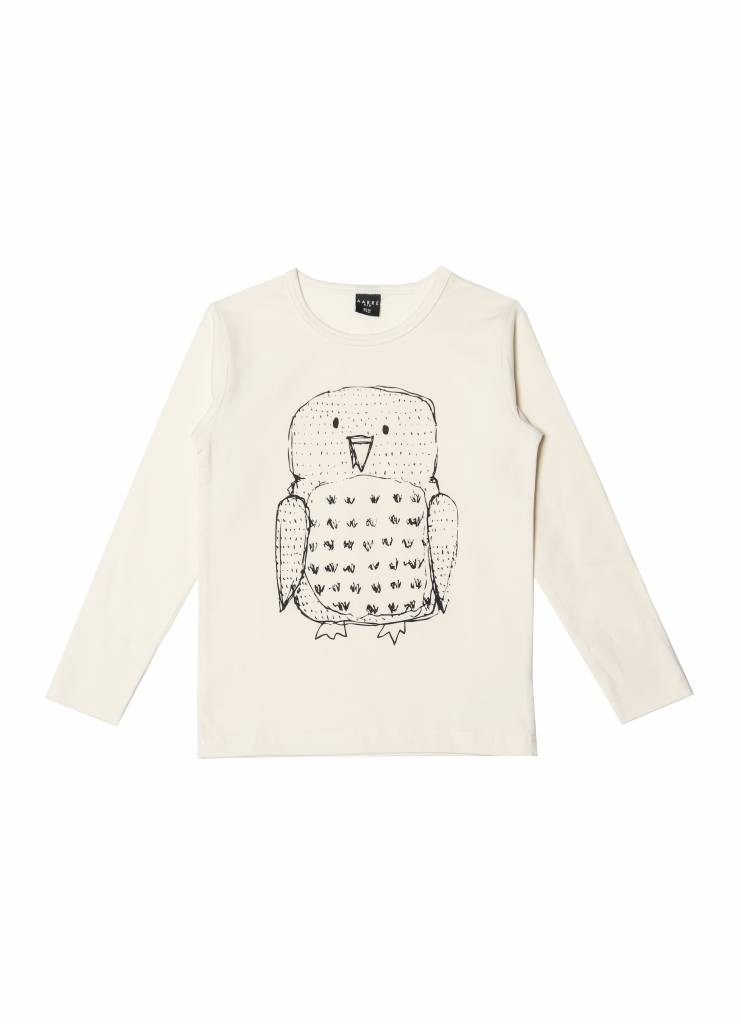 Langarm T-Shirt Owl crèmefarben