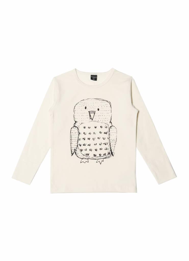 """T-shirt """"Owl"""" à manches longues crème"""