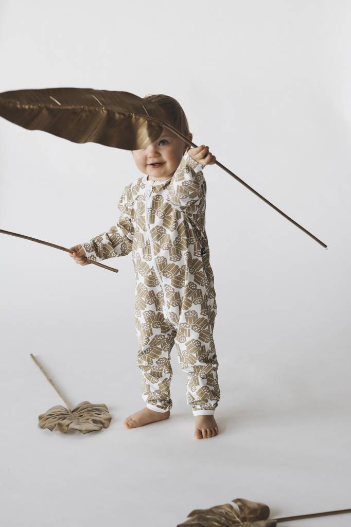 "Baby pyjama jumpsuit ""Kultalaku"" gold/white"