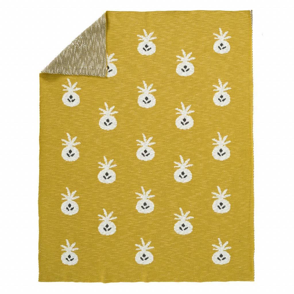 "Blanket ""Pineapple mustard"" from organic cotton"