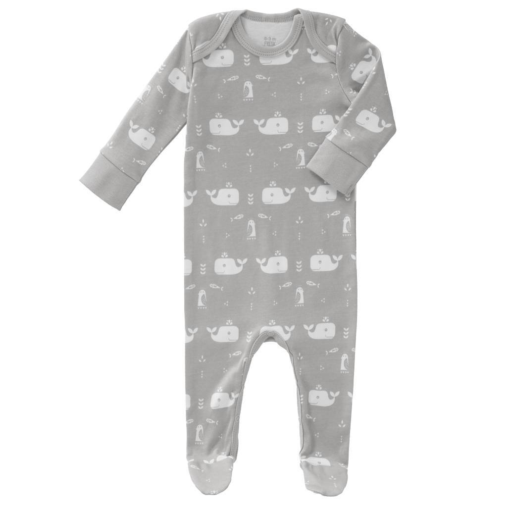 Baby pyjama Whale dawn grey from organic cotton