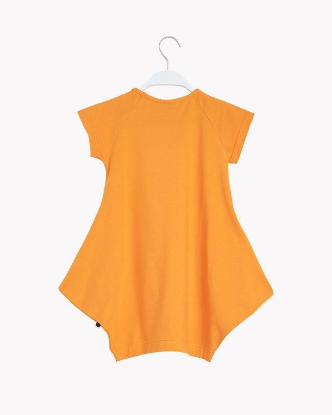 """Kids Short sleeve dress """"Kanto"""" in Brush Orange"""