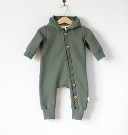 SLEEPY FOX / Baby Hooded jumpsuit forest green