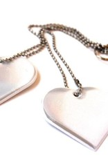 Jewellery Reflector with two hearts white