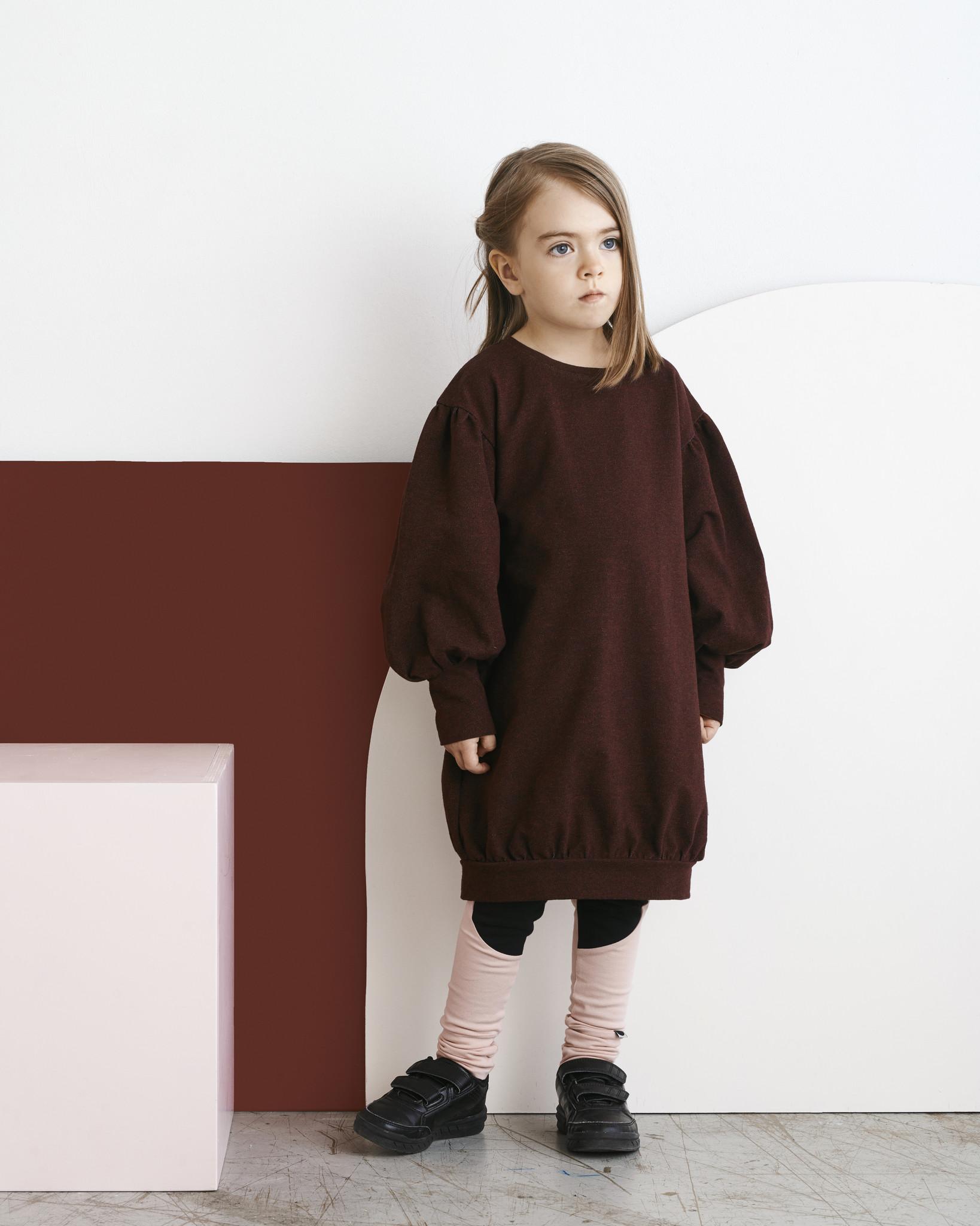 Kids longsleeve dress Tile melange with puffy sleeves