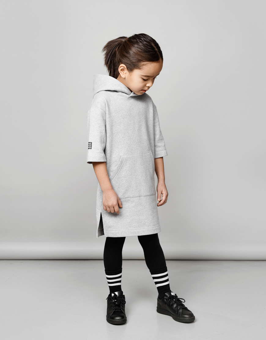 Kids Hooded tunic in grey 100% recycled materials