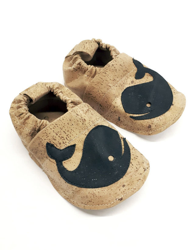 "Kids Slippers ""Whale""  made of vegan corc fabric"