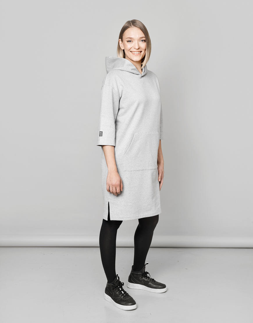 Hooded tunic in grey