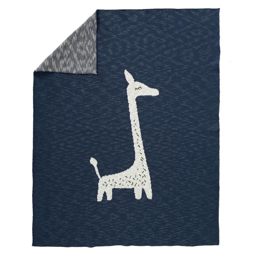 "Decke ""Giraffe"" blau/weiss"