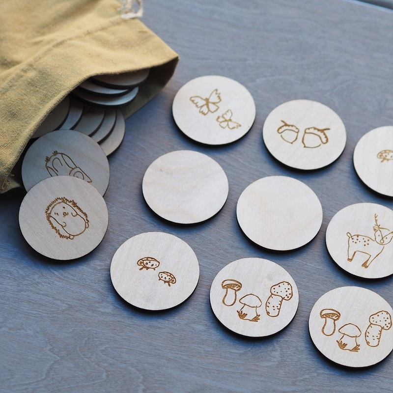 "Memory Game ""Metsässä"" of birch plywood"