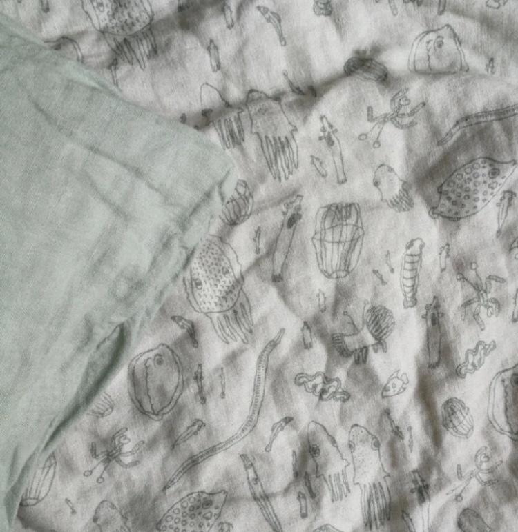 KIDS Bettwäsche aus 100% Leinen salbeigrün