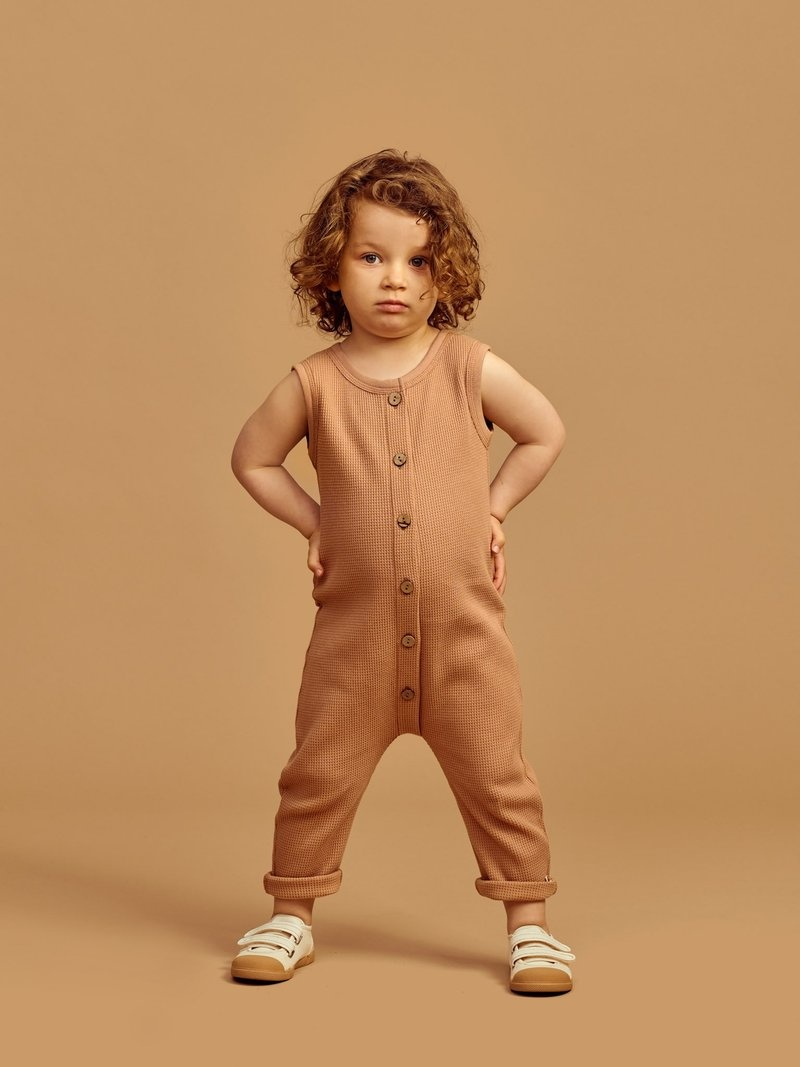 """Baby Waffle jumpsuit """"toasted nut"""" for baby and toddler"""