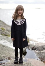 Kids Dress Alisa black with white lace collar