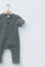Baby Summer jumpsuit forest green with front buttoning