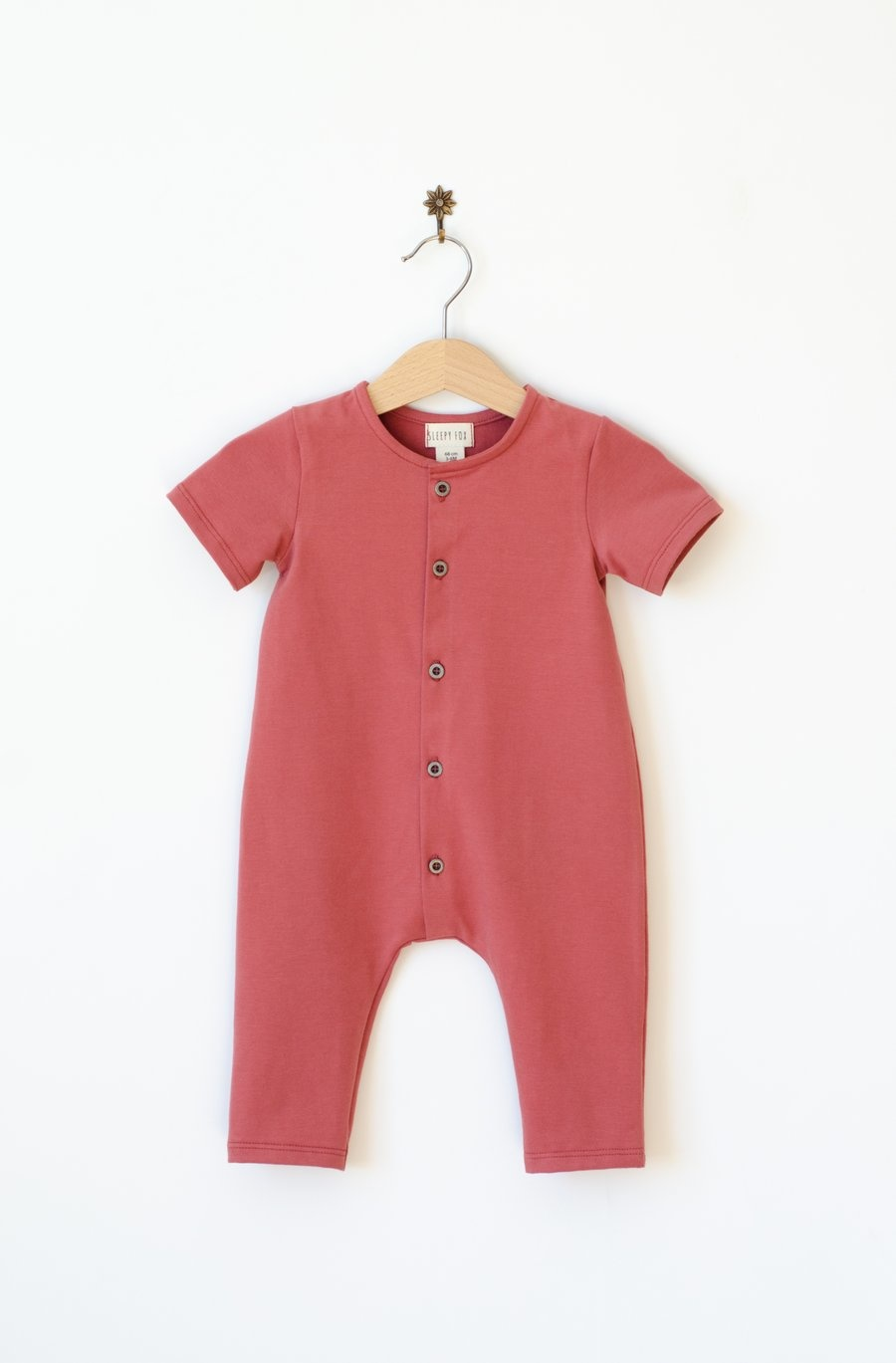 Baby Summer jumpsuit marsala red with front buttoning